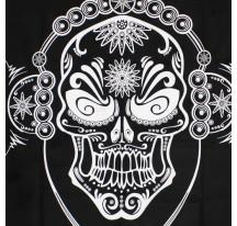 Tenture Mexican Skull noir et blanc 140x220