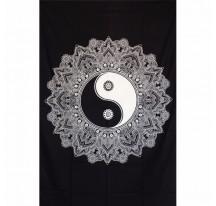 Tenture Ying Yang Lotus noir et blanc 140x220cm
