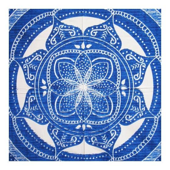 Tenture Lotus Bleu coton