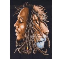 Tenture Bob Marley et Lion 75X110cm