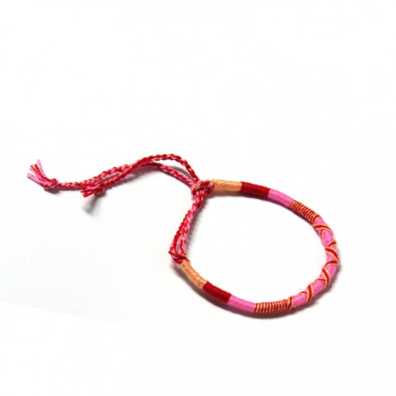 BRACELET TISSÉ ORANGE PASTEL FUSHIA ROSE