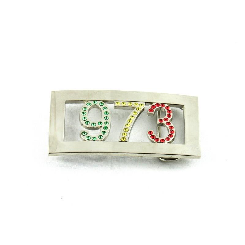 boucle de ceinture métal 973 strass vert jaune rouge 6c8c98b02ce