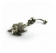 Piercing Nombril Pendentif Feuille Diamants