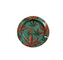 Cendrier metal rond Feuille Canna