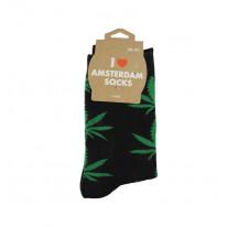 Chaussettes hommes noir avec feuilles vertes