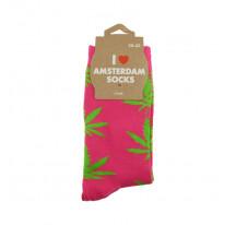 Chaussettes femmes roses avec feuilles vertes