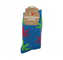 Chaussettes femmes bleus avec feuilles bi-couleur