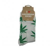 Chaussettes femmes blanches avec feuilles vertes