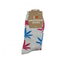 Chaussettes femmes blanches avec feuilles roses