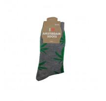 Chaussettes hommes grises avec feuilles