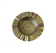 Cendrier indien laiton doré métal ROND DOUBLE CIGARETTE