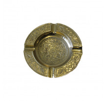 Cendrier indien laiton doré métal ROND FLEUR