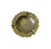 Cendrier indien laiton doré métal ROND BISOTE FLEUR