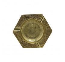 Cendrier indien laiton doré métal HEXAGONE xl
