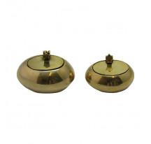 Cendrier indien laiton doré métal couvercle OVALE small
