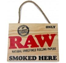 Pancarte bois Smoked Here RAW