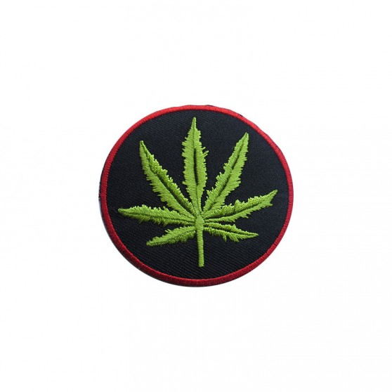 PATCH THERMOCOLLANT ROND ROUGE FEUILLE