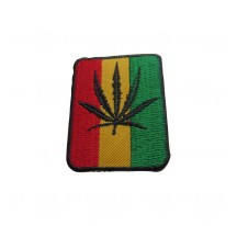 PATCH THERMOCOLLANT CARRÉ RASTA FEUILLE NOIRE