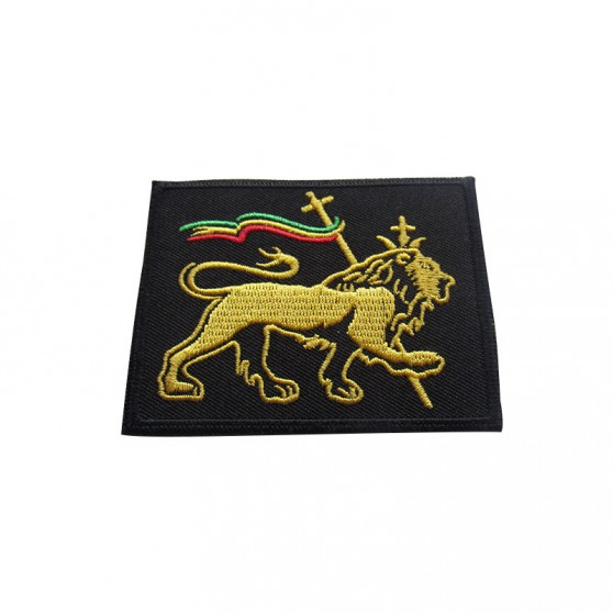 PATCH THERMOCOLLANT RECTANGLE NOIR LION DORE