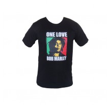 T SHIRT NOIR ONE LOVE BOB MARLEY