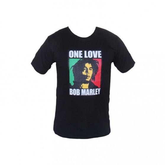 T SHIRT NOIR ONE LOVE BOB MARLEY