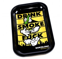 GRAND PLATEAU DE ROULAGE EN METAL - DRINK SMOKE F***