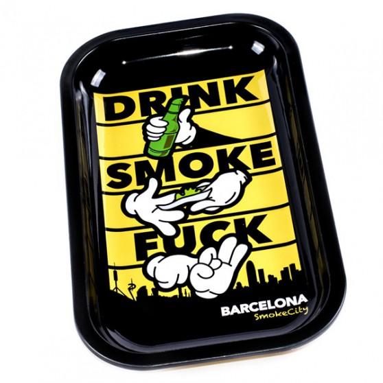 PLATEAU METAL 27X16CM DRINK SMOKE FUCK