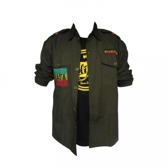 CHEMISE COTON ARMY VERTE MANCHES LONGUES